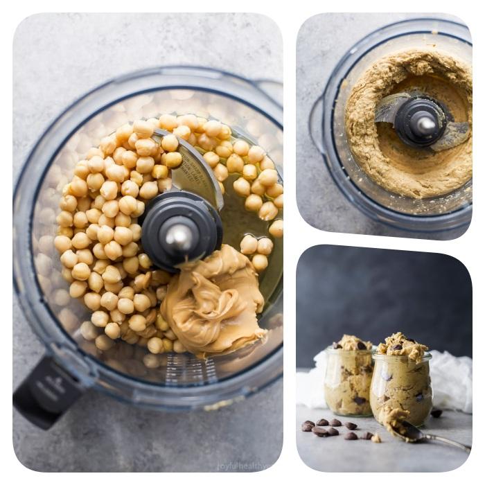 idee comment faire une pate a cookie crue au beurre de cacahuete et pois chiche, idee de dessert léger et frais sans gluten