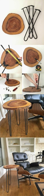 idée bricolage decoration facile, exemple comment faire une table de café avec planches bois et pieds en métal