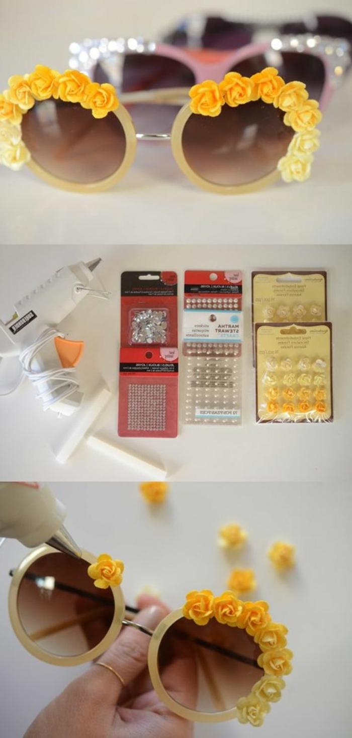 activité manuelle ado, exemple comment décorer des lunettes soleil avec colle et petites ornements en plastique