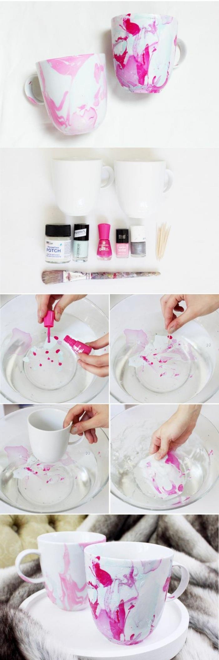 exemple comment décorer un mug blanc avec vernis à ongle, technique déco avec eau et vernis à ongles sur porcelaine