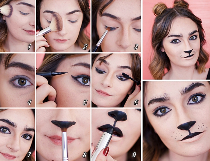 tutoriel makeup halloween facile à réaliser, idée maquillage simple halloween, comment se maquiller les yeux avec eyeliner