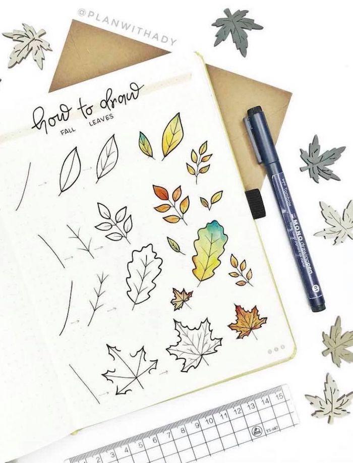 Étape par étape feuille d'automne, comment dessiner une feuille trois manières, coloriage fleurs d'arbre