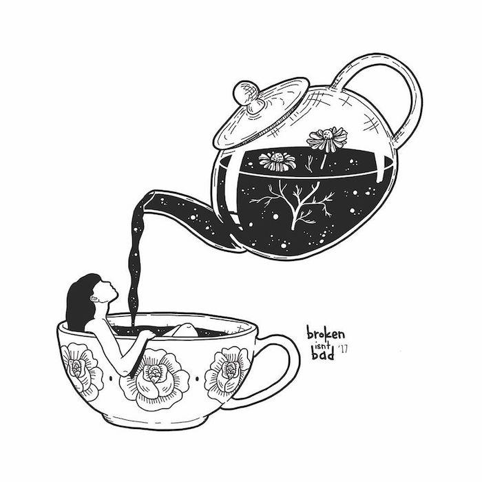 Inspiration dessin abstrait, comment dessiner une femme, tasse à thé et théière avec fleurs, thé d'automne abstrait