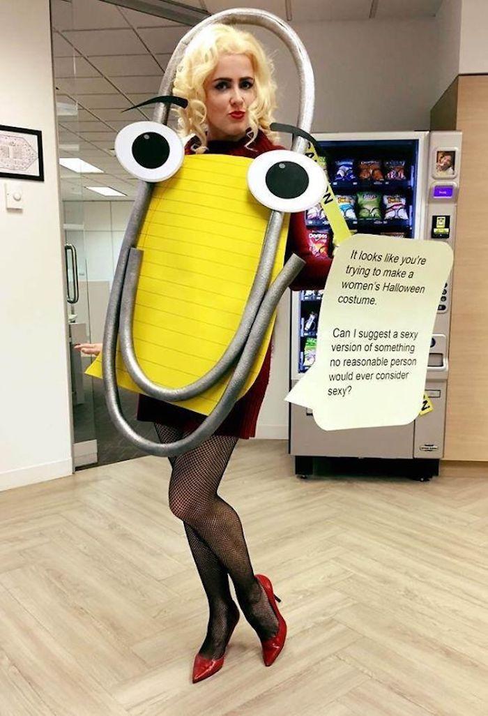 Drole déguisement femme original, idée costume halloween spreadsheets robe et trombone avec yeux