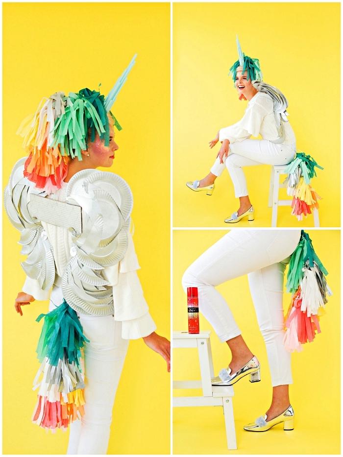 fabriquer un costume licorne facile avec crinière et queue en guirlande de tassels, et des ailes en assiettes jetables récup