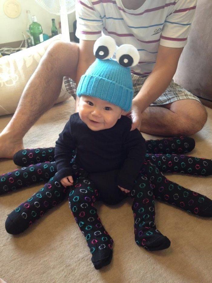 Octopus deguisement diy pour bébé, deguisement bebe fille, déguisement halloween pour bébé