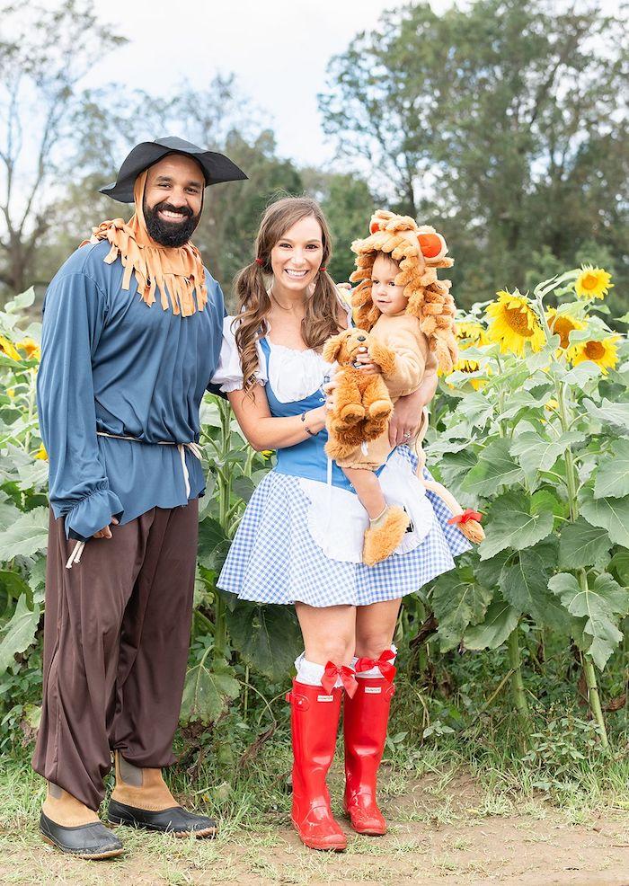 Idée costumes en commun pour toute la famille, déguisement garçon ou fille lion, idée comment deguiser son enfant le magicien d'oz