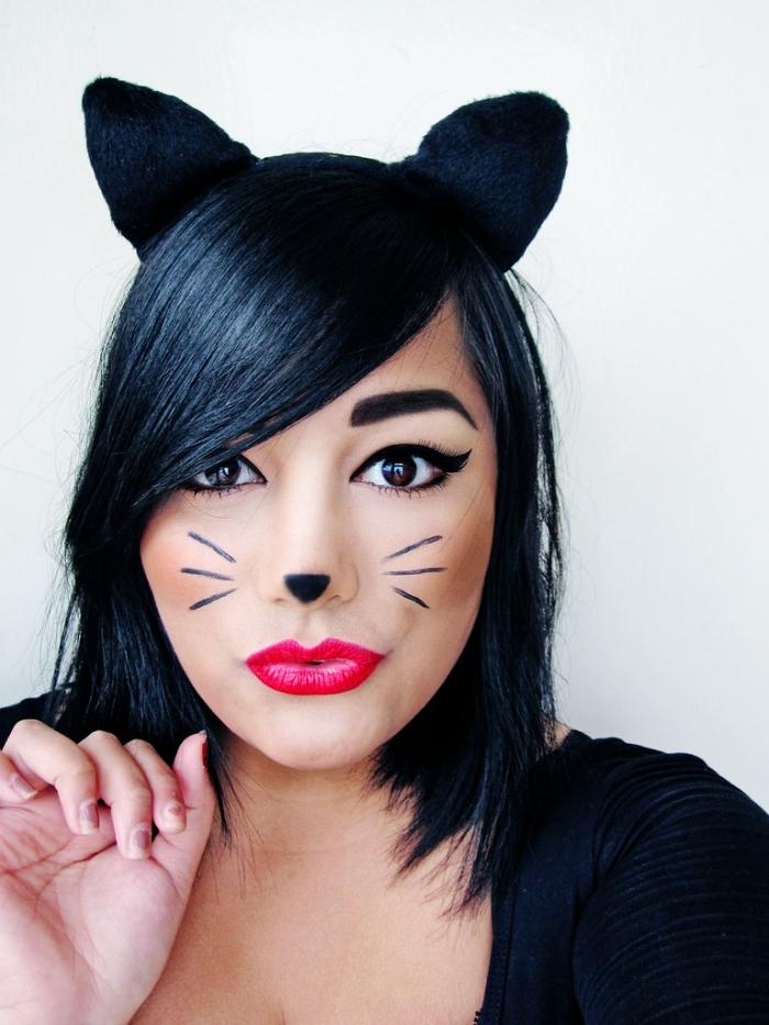 comment se déguiser pour halloween dernière minute, costume femme chat pour halloween, maquillage simple halloween