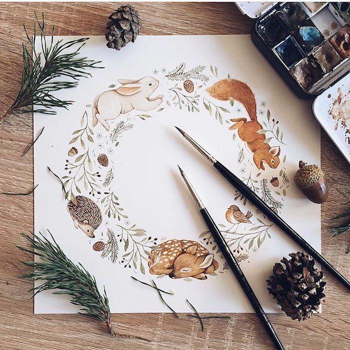 Couronne de fleurs et d'animaux sauvages, comment dessiner un hérisson, dessin d'automne, image fond'd'écran automnal