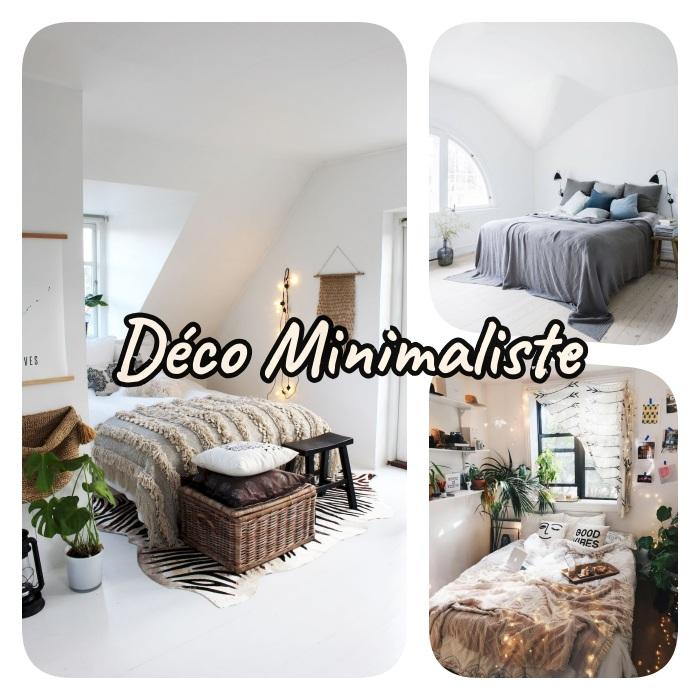 idee de deco chambre cosy avec lit cocooning avec layering de matières, guirlandes lumineuses, deco couleurs neutres et style deco minimaliste