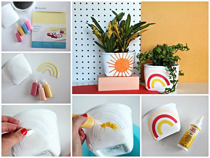des pots de fleurs personnalisés avec dessins soleil et arc-en-ciel décorés de sable coloré, bricolage facile avec du sable à coller