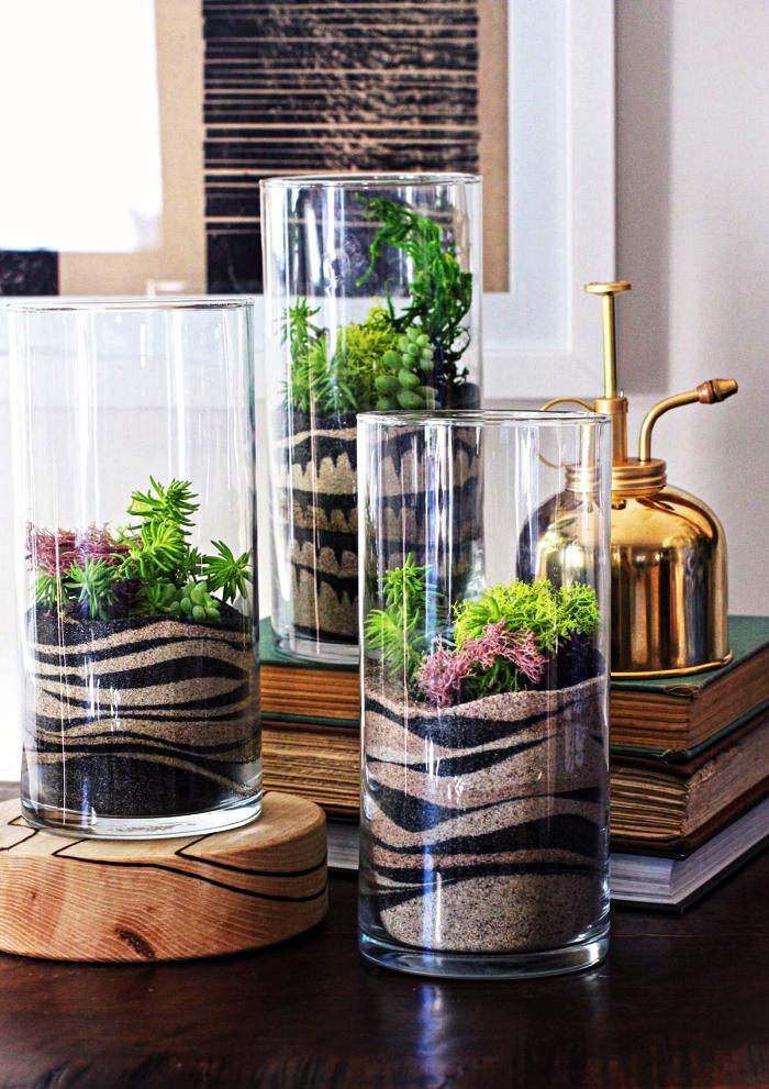 terrarium à faire soi avec des couches de sables naturels et colorés, que faire avec du sable décoratif