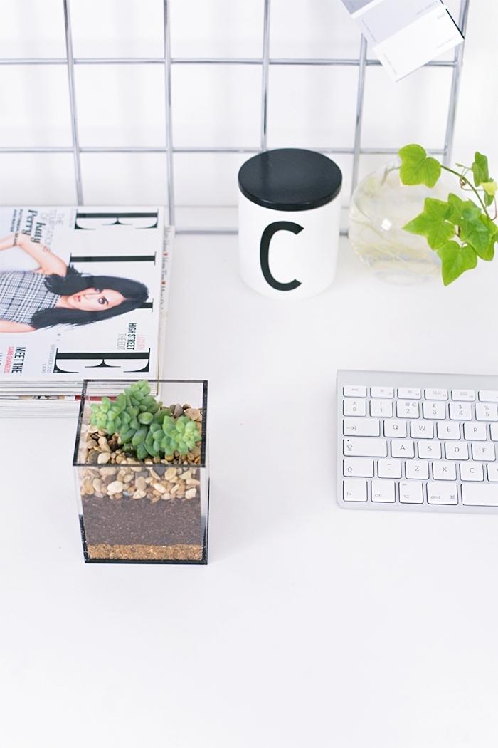 comment décorer son espace de travail avec accessoires fait main, modèle de terrarium verre avec terreau et petites plantes