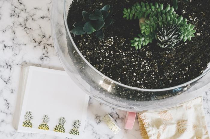 idée comment décorer son espace travail avec plantes vertes, diy terrarium bocal en verre rempli de terreau