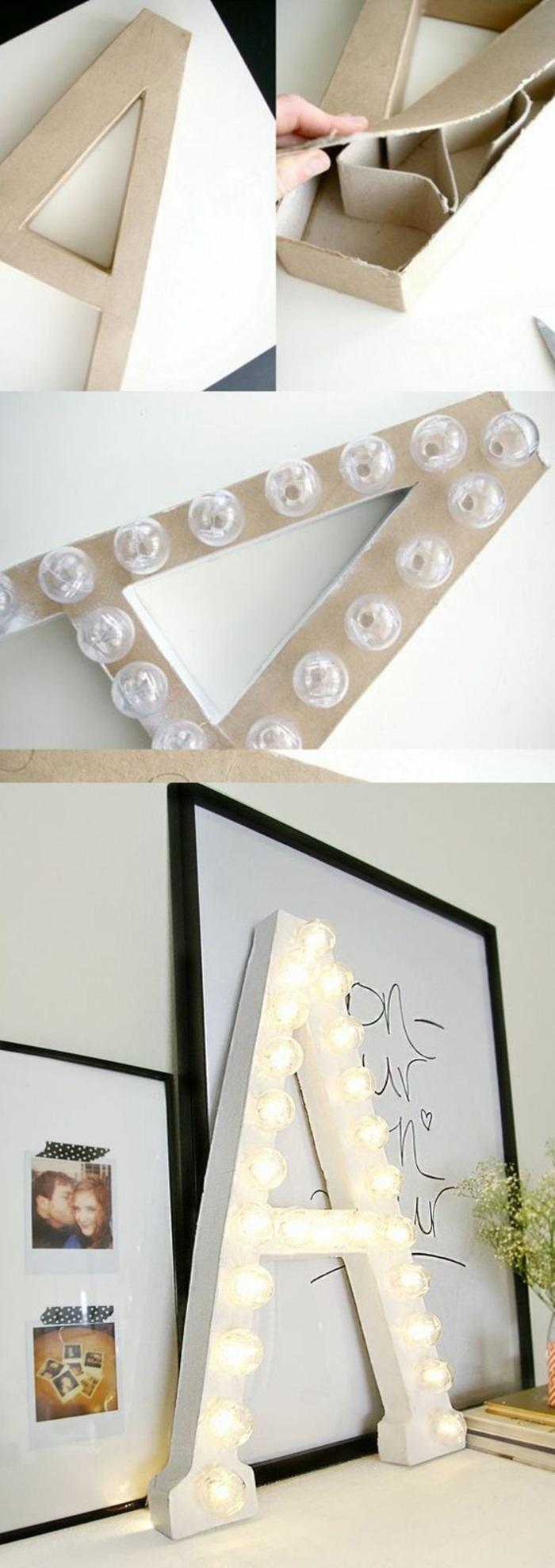 diy objet de déco facile, modèle de lampe en forme de lettre DIY, faire une lettre lumineuse avec carton et guirlande