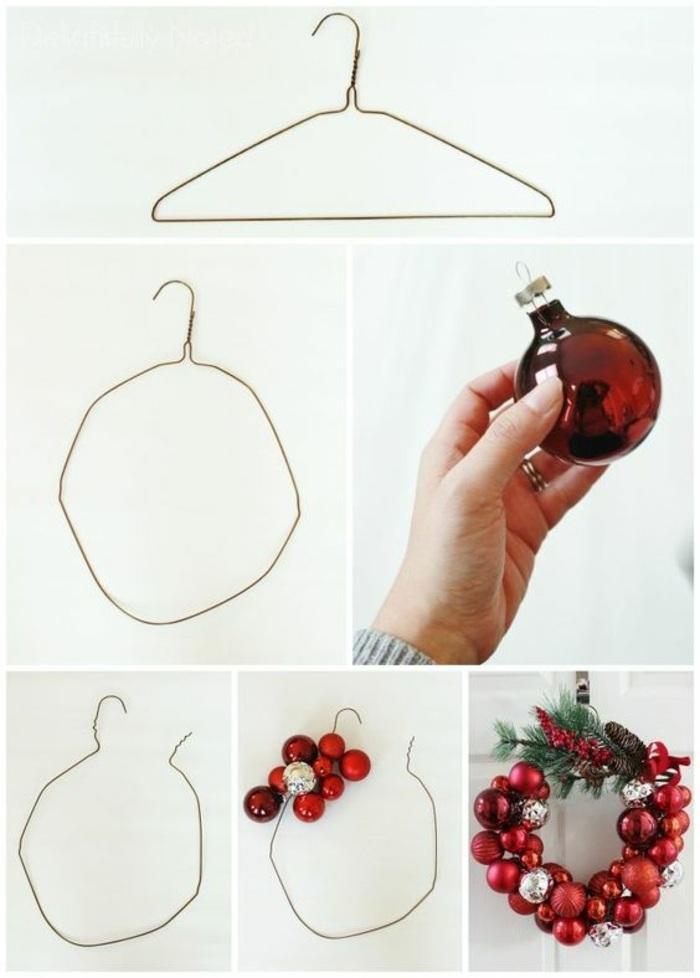bricolage decoration facile, exemple comment faire une couronne de Noel avec jouets bulles rouges et branches sapin