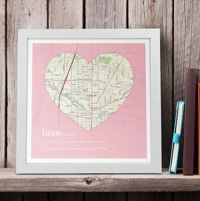 Coeur carte location, cadeau cremaillere personnalise, cadeau couple original, idée cadeau pour un couple
