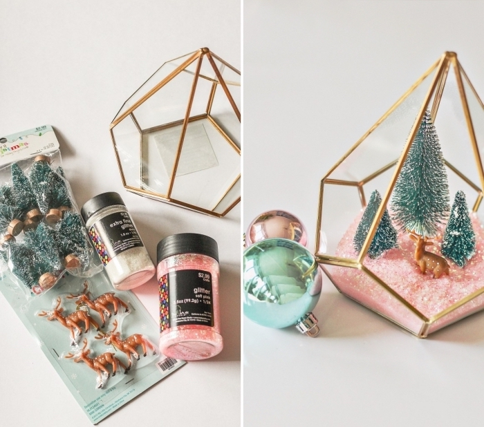 modèle de terrarium à faire pour Noel, projet créatif pour enfants, réaliser un terrarium avec figurines Noel dans récipient verre