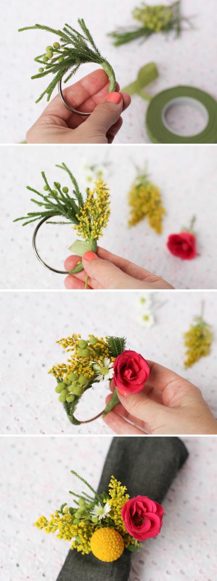 activité créative, comment décorer une table mariage, idée technique pliage de serviette avec rond DIY floral