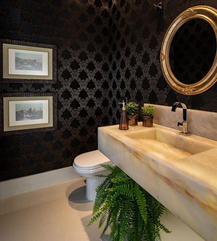 exemple de decoration wc moderne, modèle papier peint imperméable pour salle de bain, déco toilette avec plantes