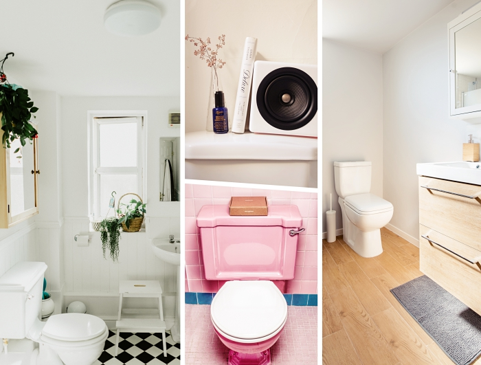 idée faience wc de couleur rose, comment décorer ses wc de style minimaliste avec objets en bois et plantes vertes