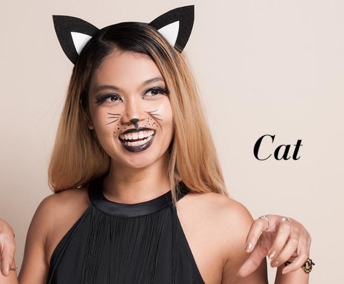 idée maquillage carnaval facile à faire, exemple de makeup chat avec rouge à lèvre noir et eyeliner en forme de moustaches