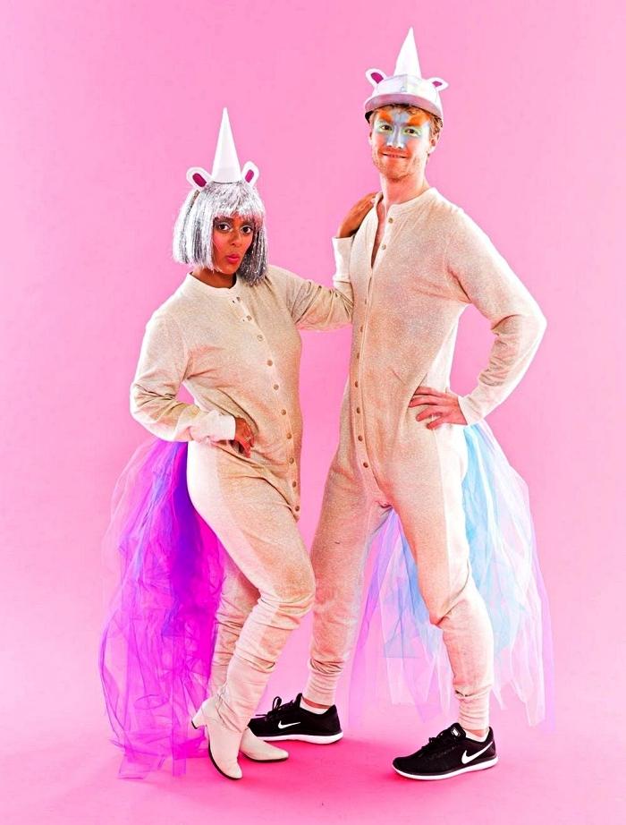 deguisement drole pour femme ou homme, costume de licorne une pièce avec perruque argent et chapeau licorne