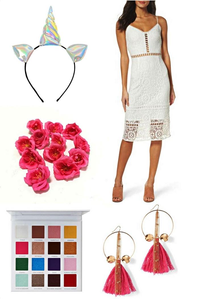 tout le nécessaire pour se faire un déguisement licorne glamour, look licorne en robe blanche complété par un serre-tête licorne holographique et des boucles d'oreilles pompons rose