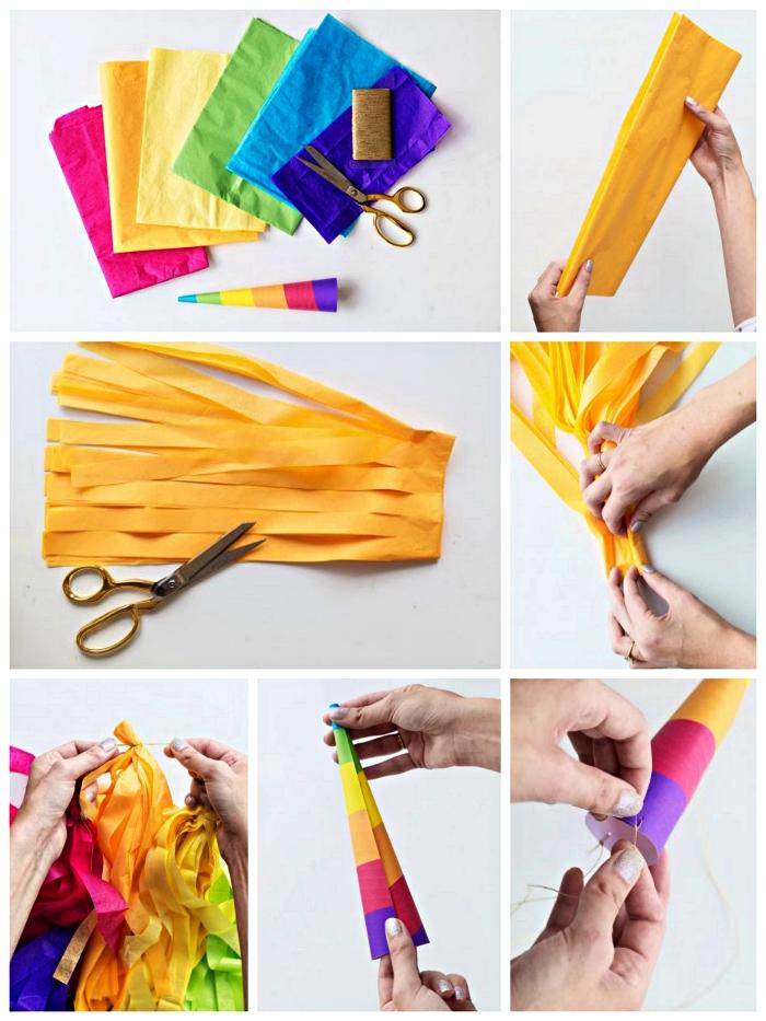 déguisement halloween fait maison, tuto pour réaliser une guirlande de tessels en papier de soie qui servira de crinière et queue de licorne