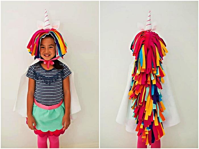 idée de déguisement halloween fait maison, costume de licorne en feutrine à réaliser soi même sans couture