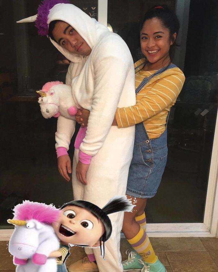 Moi moche et méchant costume halloween, l'enfant et son licorne en peluche, adorable deguisement homme licorne et femme, comment se déguiser pour halloween