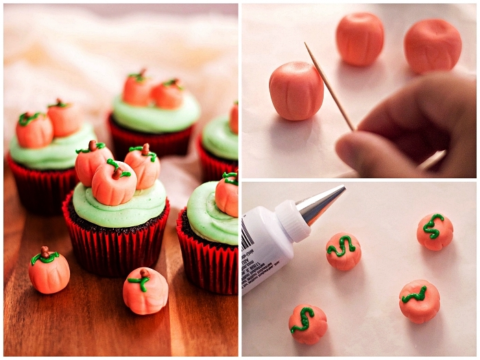 recette gateau halloween maternelle, décorer des cupcakes d'halloween avec des citrouilles en pâte à sucre