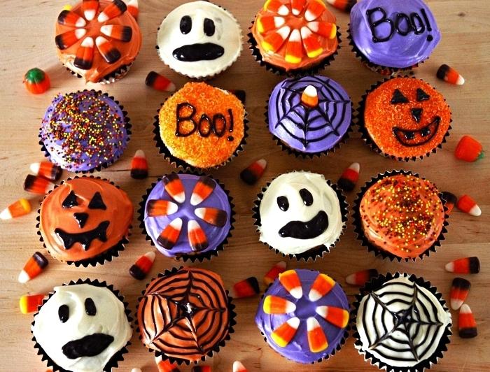 cupcakes d'halloween au chocolat et aux glaçages de crème beurre divers, recette halloween facile et rapide