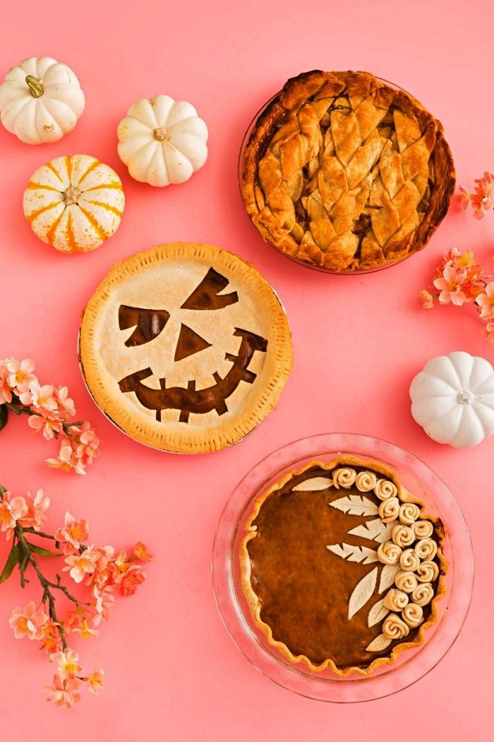 comment décorer une tarte à la citrouille pour halloween, deco gateau halloween en pâte brisée