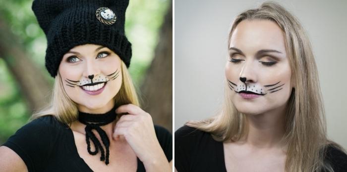 costume de Halloween femme dernière minute, idée maquillage halloween facile avec eyeliner et fards à paupières