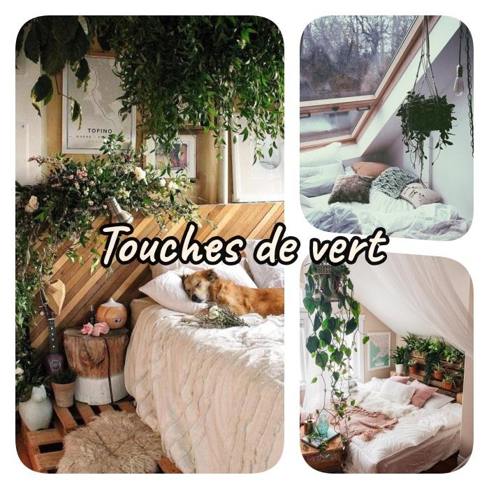 comment rendre sa chambre cosy, idee introduire plantes vertes interieur, pots de fleurs suspendus, tete de lit palette végétalisée