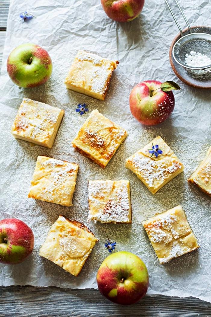 recette de barres aux pommes et à la crème pâtissière, dessert aux pommes vite fait et facile à préparer
