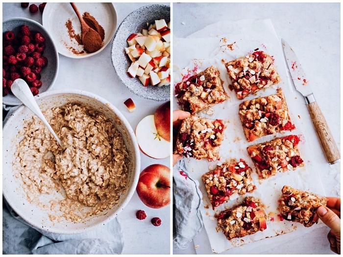 dessert facile et rapide et original à base de pommes, barres aux pommes, framboises, flocons d'avoine et cannelle