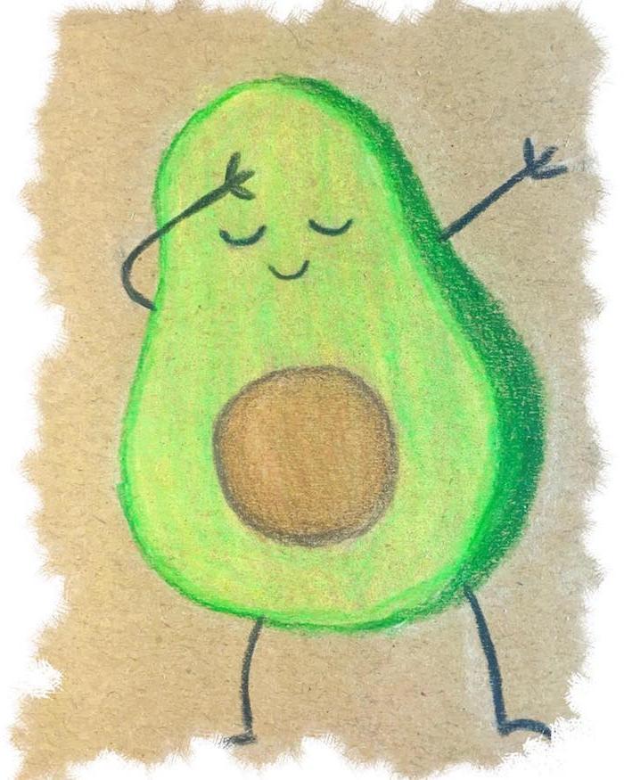 nourriture kawaii, dessin avocat couleur verte avec noyau marron et des traits de visage simples sur fond beige