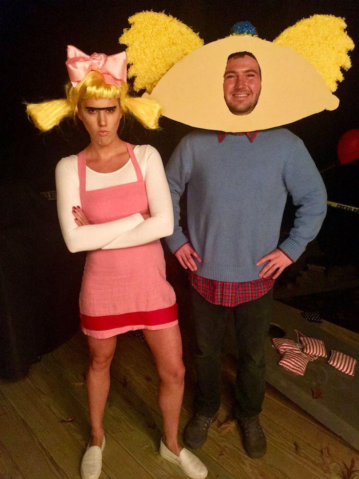 Dessin animé des années 90, couple déguisement drôle, idée déguisement année 90, déguisement cinéma couple rétro