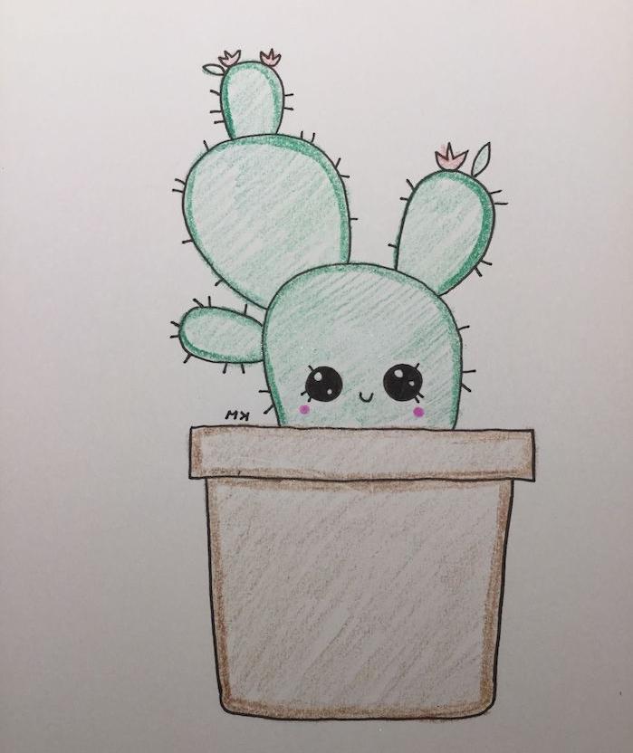 dessin a dessiner soi meme, plante kawaii cactus dans un pot de fleur marron, cactus aux gros yeux sur fond blanc