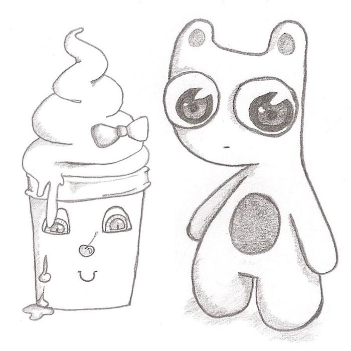 dessin facile a dessiner dans style kawaii, creature fantstique aux yeux enormes et gobelet milkshake, personnages manga