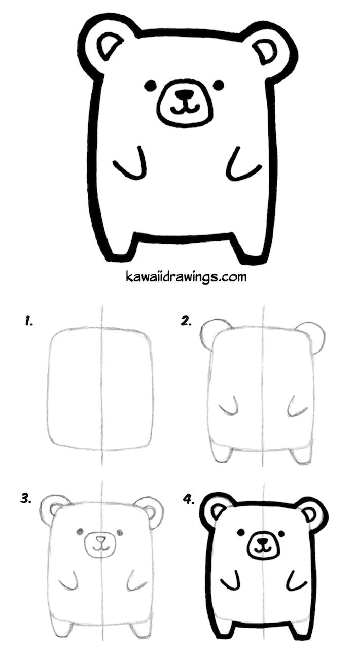 exemple dessin facile a faire pour debutant, ourson mignon à dessiner à partir un rectangle et de simples traits de visage