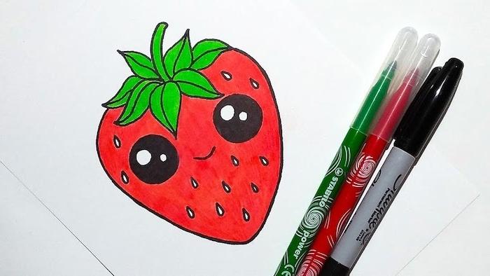 idee comment dessiner un fruit rouge, idee de fraise rouge aux gros yeux noirs et tige verte