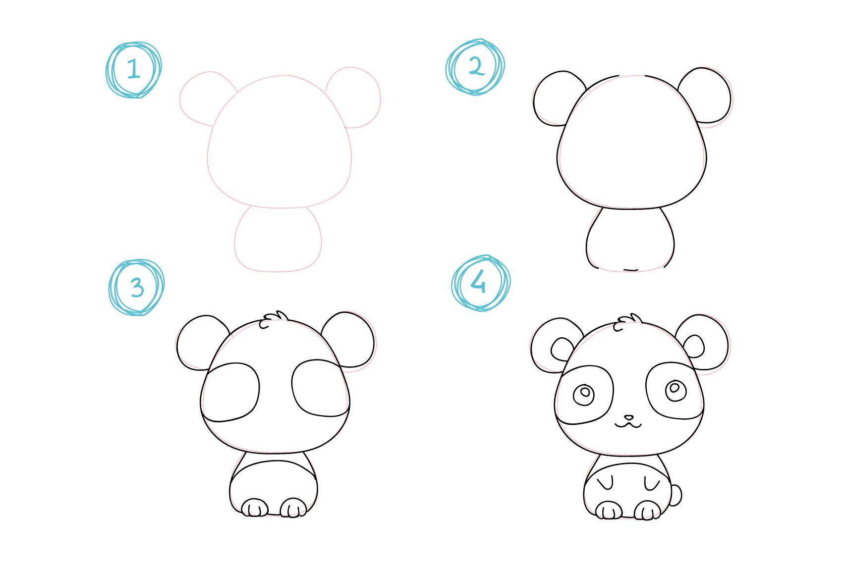dessin facile à dessiner, koala a dessiner soi meme par etape, contours arrondis, dessin crayon facile