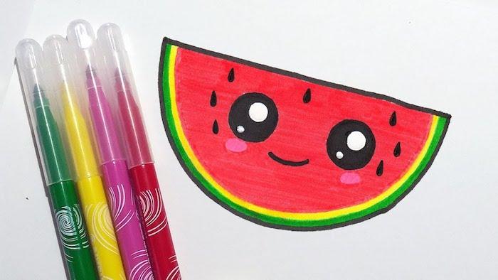 kawaii dessin de pasteque en rouge et vert coloré aux feutres avec des gros yeux noir et blanc