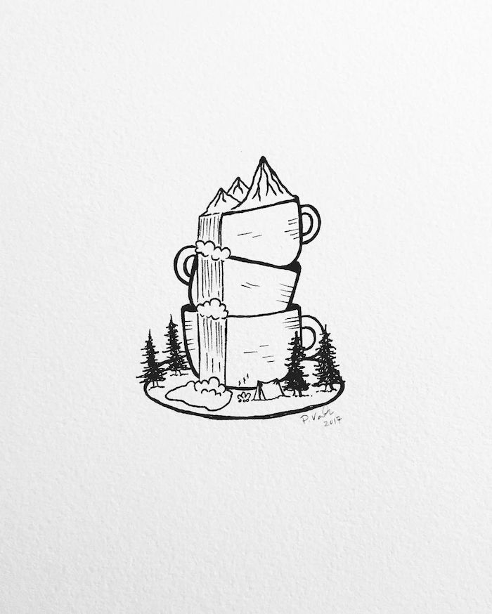 Trois tasses à café l'une sur l'autre, abstrait dessin automnal, nature dans une tasse automne dessin, chouette idée de dessin d'automne