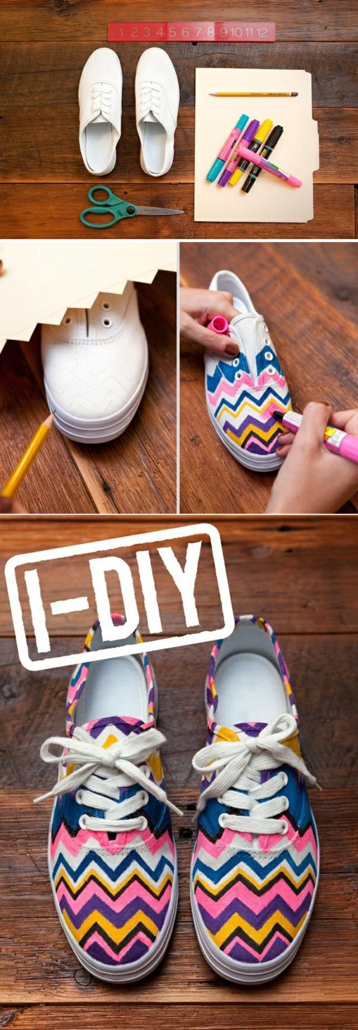 activités manuelles printemps, exemple comment customiser ses baskets avec peinture, diy baskets aux motifs géométriques