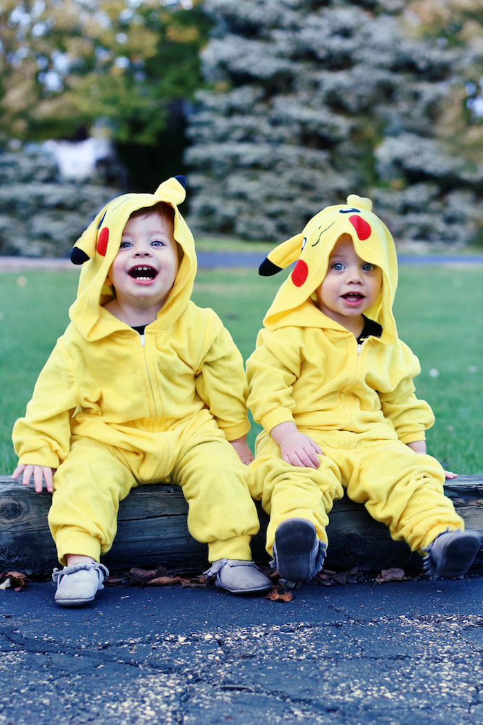 Pikachu jumeaux costumes adorables, jaune costume pour garçon bébé, deguisement bebe garcon, deguisement halloween enfant