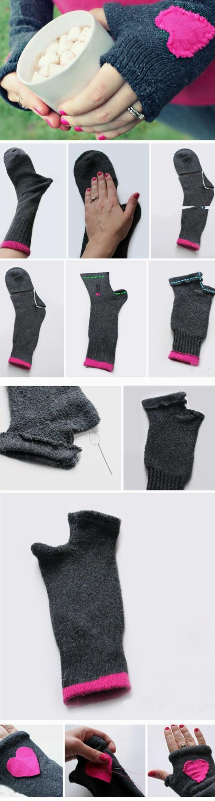 comment faire des gants hiver, activité manuelle hiver, tutoriel fabrication accessoires mode hiver avec chaussettes